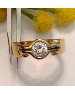 Solitario in oro giallo / bianco 18kt con diamante - gr. 6.8