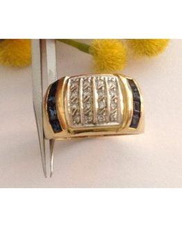 Anello in oro giallo 18kt con Zaffiri e Diamanti - gr. 7.47