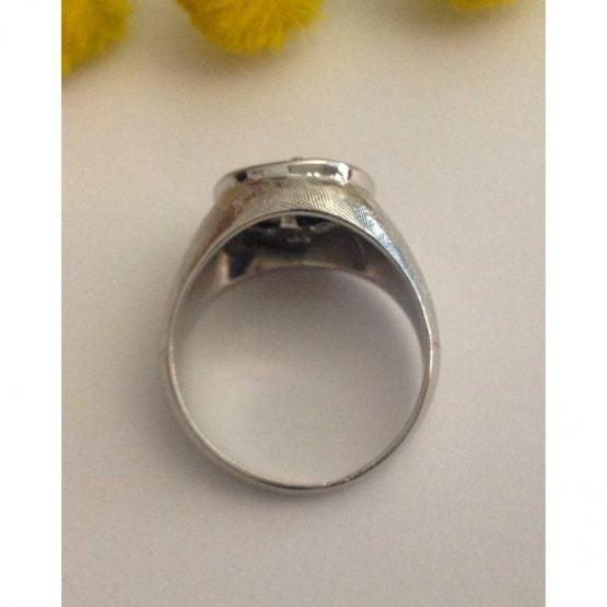 Anello d'epoca in oro bianco con diamante - gr. 4.9