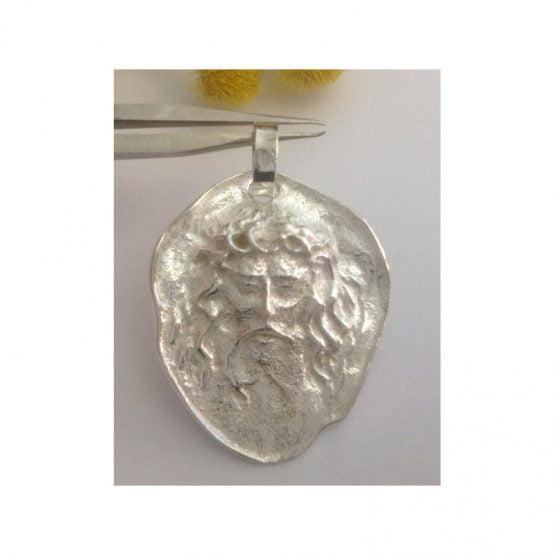 """Medaglia Artigianale """" Volto Santo """" in argento 800 millesimi"""