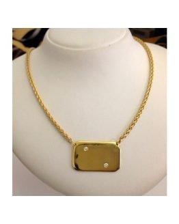 Girocollo con Piastrina in oro giallo 18kt e Diamanti - gr. 34.9