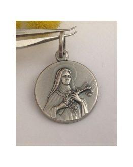 """Medaglietta""""Santa Teresa del Bambin Gesù in argento massiccio 925"""
