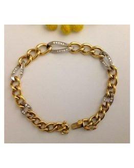 Bracciale in oro giallo / bianco 18kt con 30 Diamanti Naturali - gr. 32.5