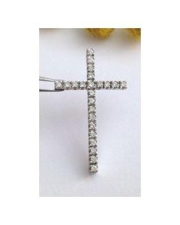 Croce in oro bianco 18kt con 23 Diamanti Nauturali - gr. 2.6
