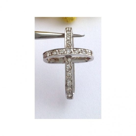 Croce Stilizzata in oro bianco 18kt con Cubic Zirconia - gr. 1.91