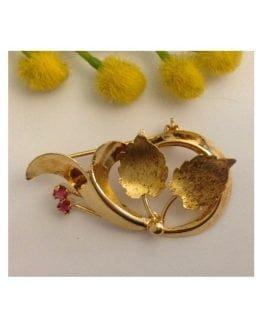 Spilla d'epoca in oro giallo 18kt con rubini - gr. 4.93