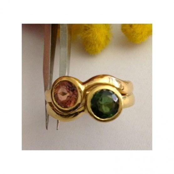 Anello in oro Giallo / Rosa 18kt con Tormaline - gr. 9.24