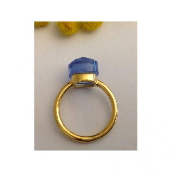 Anello in oro giallo 18kt con Topazio Azzurro - gr. 6.44