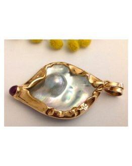 Pendente in oro Rosa 18kt con Perla / Rubino e Diamanti - gr. 29.42