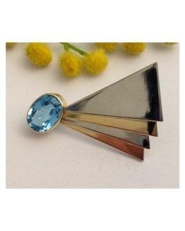 Spilla in oro 18kt con Topazio Azzurro - gr. 10