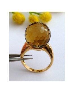 Anello in oro giallo 18kt con Quarzo Fumé - gr.9.37